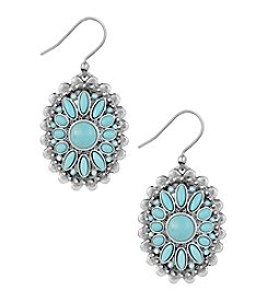 Lucky Brand® Silvertone Floral Turquoise Drop Earrings