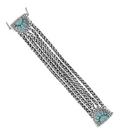 Lucky Brand® Silvertone And Turquoise Link Bracelet