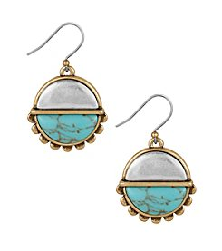 Lucky Brand® Two Tone Turquoise Drop Earrings