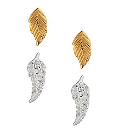Lucky Brand® Two Tone Delicate Leaf Earrings Stud Set