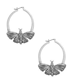 Lucky Brand® Silvertone Pave Butterfly Hoop Earrings