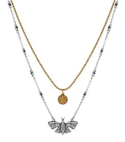 Lucky Brand® Two Tone Lucky Layer Butterfly Necklace