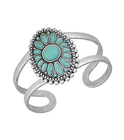 Lucky Brand® Silvertone Floral And Turquoise Cuff Bracelet