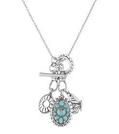 Lucky Brand® Silvertone Butterfly Charm Toggle Necklace