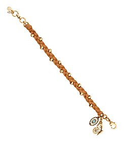 Lucky Brand® Goldtone Butterfly Leather Braided Bracelet