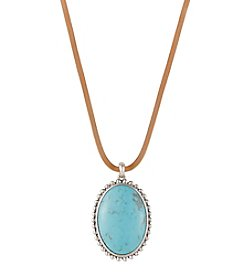 Lucky Brand® Silvertone Leather Turquoise Pendant Necklace