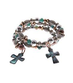 L&J Accessories Tri Tone Beaded Bracelet