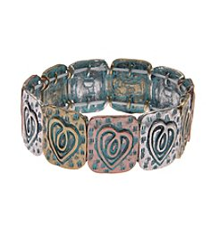 L&J Accessories Tri Tone Patina Heart Stretch Bracelet