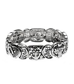 L&J Accessories Anchor, Cross And Heart Silvertone Stretch Bracelet