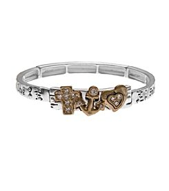 L&J Accessories Two Tone Heart Anchor Stretch Bracelet