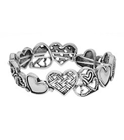 L&J Accessories Silvertone Heart Stretch Bracelet