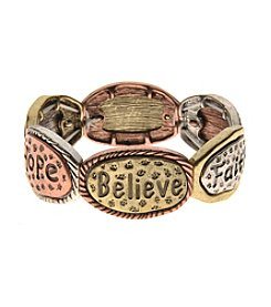 L&J Accessories Tri Tone Believe Inspired Stretch Bracelet