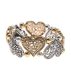 L&J Accessories Two Tone Heart Stretch Bracelet