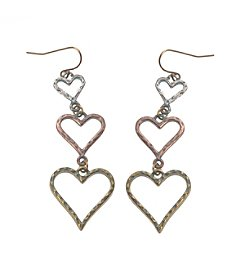 L&J Accessories Tri Tone Triple Drop Heart Earrings