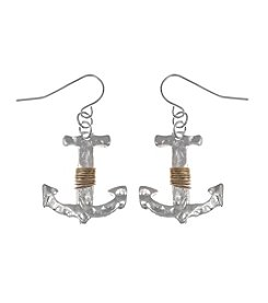 L&J Accessories Two Tone Anchor Drop Earrings