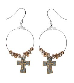 L&J Accessories Tri Tone Cross Hoop Earrings