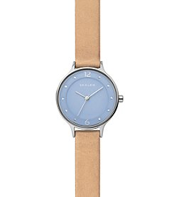 Skagen Denmark Women's Anita Watch In Silvertone With Light Brown Leather Strap