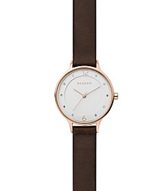 Skagen Denmark Women's Anita Watch In Rose  Goldtone With Dark Brown Leather Strap