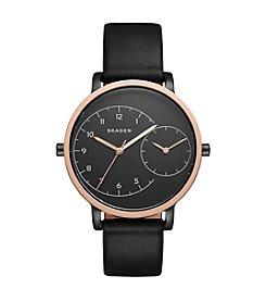 Skagen Denmark Women's Hagen Rose Goldtone Watch With Black Leather Strap