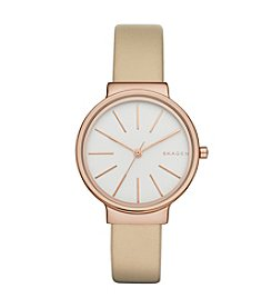 Skagen Denmark Women's Ancher Watch In Rose Goldtone With Leather Strap