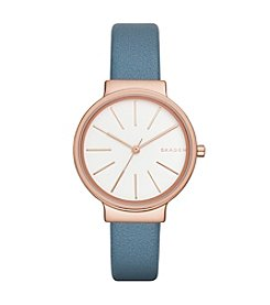 Skagen Denmark Women's Ancher Watch In Rose Goldtone With Blue Leather Strap