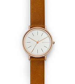 Skagen Denmark Women's Hald Watch In Rose Goldtone With Light Brown Strap