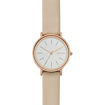Skagen Women's Hald Watch In Rose Goldtone With Leather Stra