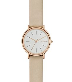 Skagen Denmark Women's Hald Watch In Rose Goldtone With Leather Strap