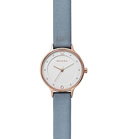 Skagen Women's Anita Watch In Rose Goldtone With Blue Leather Strap