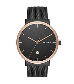 Skagen Men's Ancher Watch in Rose Goldtone with Black Mesh Strap