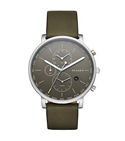 Skagen Men's Hagen Watch in Silvertone with Green Leather Strap