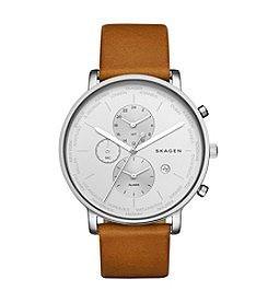Skagen Men's Hagen Watch in Silvertone with Light Brown Leather Strap