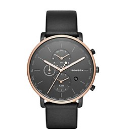 Skagen Men's Hagen Watch in Rose Goldtone with Black Leather Strap