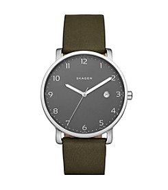 Skagen Denmark Men's Hagen Watch In Silvertone With Green Leather Strap