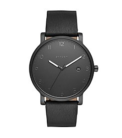 Skagen Men's Hagen Watch In Black With Leather Strap