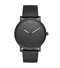 Skagen Men's Hagen Watch In Black With Leather Strap
