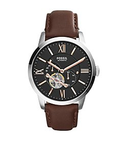 Fossil® Men's Townsman Watch In Silvertone With Dark Brown Leather Strap