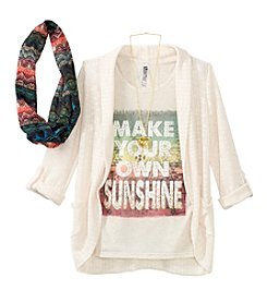 Beautees Girls' 7-16 Make Your Own Sunshine Tee With Cozy, Scarf And Necklace