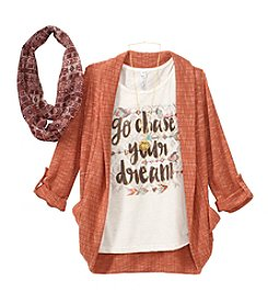 Beautees Girls' 7-16 Chase Your Dreams Tee With Cozy, Scarf And Necklace