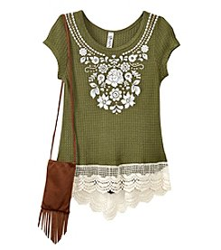 Beautees Girls' 7-16 Short Sleeve Floral Top With Fringe Purse
