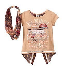 Beautees Girls' 7-16 Short Sleeve Let Yourself Shine Tee With Scarf