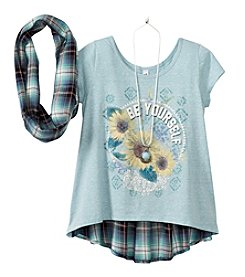 Beautees Girls' 7-16 Short Sleeve Be Yourself Tee With Plaid Scarf