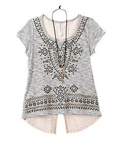 Beautees Girls' 7-16 Short Sleeve Crochet Embellished Tee With Necklace