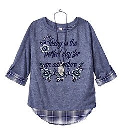 Beautees Girls' 7-16 3/4 Sleeve Perfect Day For An Adventure Top With Necklace