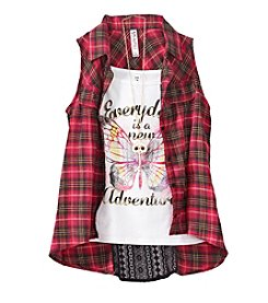 Beautees Girls' 7-16 Layered Butterfly Tank And Plaid Shirt