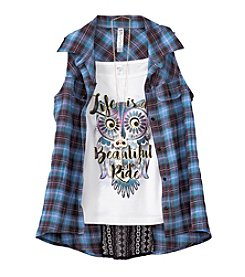 Beautees Girls' 7-16 Layered Owl Tank And Plaid Shirt