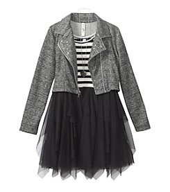 Beautees Girls' 7-16 Striped Mesh Dress With Moto Jacket