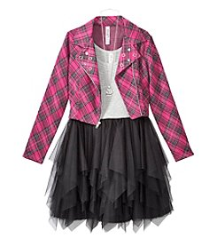 Beautees Girls' 7-16 Mesh Dress With Plaid Moto Jacket