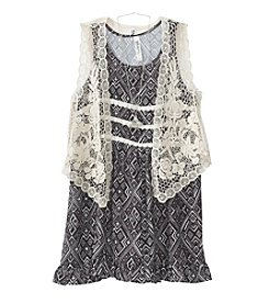 Beautees Girls' 7-16 Boho Dress With Lace Vest