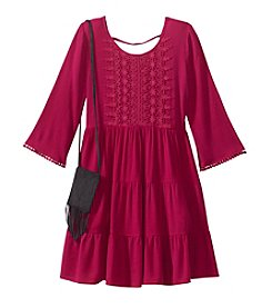 Beautees Girls' 7-16 Bell Sleeve Boho Dress With Purse
